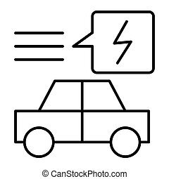 Electric car thin line icon. Ecology automobile vector illustration isolated on white. Ecology transport outline style design, designed for web and app. Eps 10.