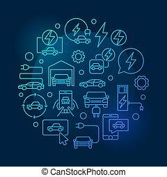 Electric car vector blue round line illustration
