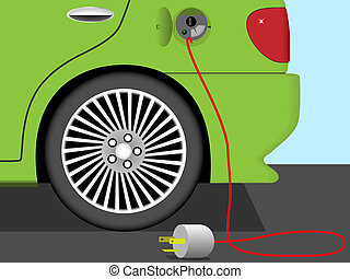 Electric car - Vector illustration of rear part of electric ...