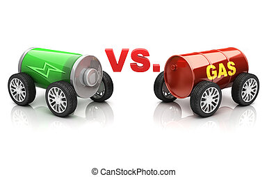 electric car vs gas car 3d illustration