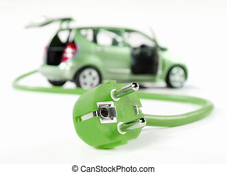 Electric car with cable and plug, all in green color and ...