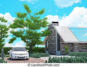 Electric car with ecological house