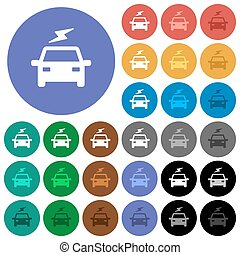 Electric car with flash round flat multi colored icons