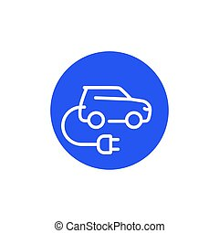 electric car with plug, EV line icon, vector sign
