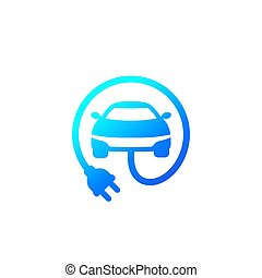 electric car with plug icon, vector