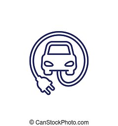 electric car with plug line icon