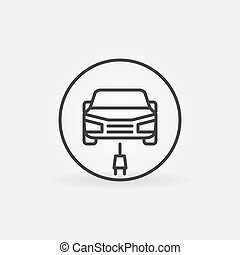 Electric Car with Plug linear vector concept round icon