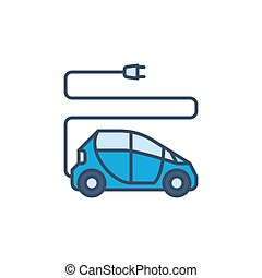 Electric Car with Plug vector concept colored icon