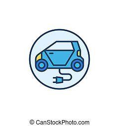 Electric Car with Plug vector concept round colored icon