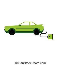 Electric car with plug