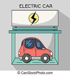 electric car with recharge battery station