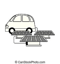 electric car with solar panels black and white