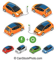 Electric car with Solar Panels. Eco car. Isometric vector...