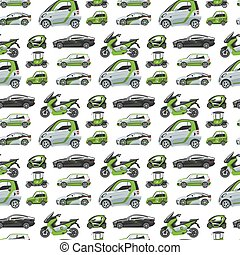 Electric car with solar panels eco transport seamless pattern background vector illustration automobile socket electrical car battery charger.