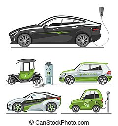 Electric car with solar panels eco transport vector illustration automobile socket electrical car battery charger.