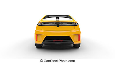 Electric Car Yellow Back View