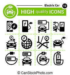 electric cars icons
