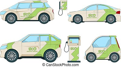 Electric cars. Various cartoon eco cars isolate