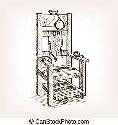 Electric chair sketch style vector illustration