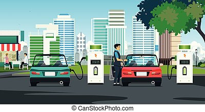 Electric Charger - The electric car is charging the building...