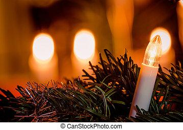 Electric Christmas light on a tree