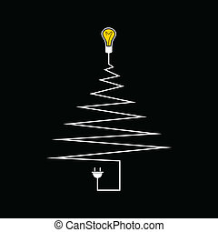 Electric Christmas tree. A vector illustration
