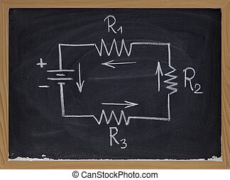 electric circuit schematic on blackboard - simple schematic...
