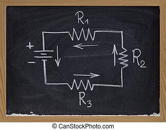 electric circuit schematic on blackboard - simple schematic...