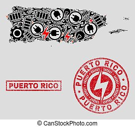Electric Collage Puerto Rico Map and Snowflakes and Grunge Seals