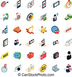 Electric communication icons set, isometric style