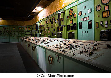 electric controller room in an old metallurgical firm -...