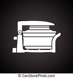 Electric convection oven icon. Black background with white....
