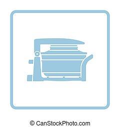 Electric convection oven icon. Blue frame design. Vector...