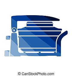 Electric convection oven icon. Flat color design. Vector illustration.
