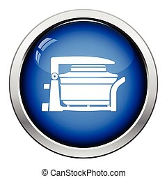 Electric convection oven icon. Glossy button design. Vector...