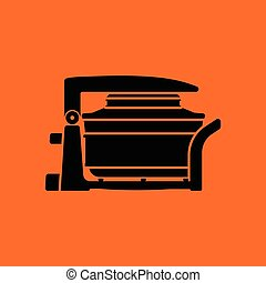 Electric convection oven icon. Orange background with black....