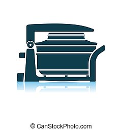 Electric Convection Oven Icon. Shadow Reflection Design. Vector Illustration.