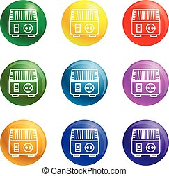 Electric converter icons set vector