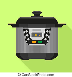 Electric cooker icon, flat style