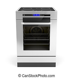 Electric cooker on white background