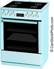 Electric cooker oven. Vector illustration