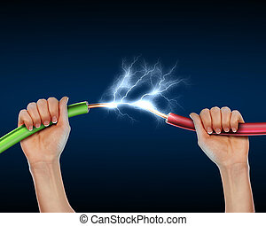 Electric cord with electricity sparkls