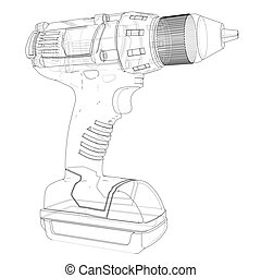 Electric cordless screwdriver. Vector rendering of 3d. Wire-frame style. The layers of visible and invisible lines are separated