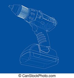 Electric cordless screwdriver. Vector
