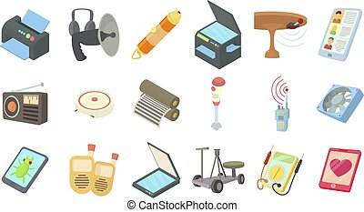 Electric device icon set, cartoon style