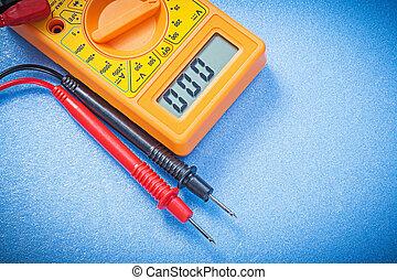 Electric digital gauge on blue background electricity concept