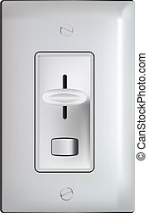 Electric dimmer switch with faceplate -realistic illustration