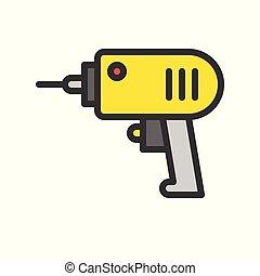 electric drill, Filled outline icon, handyman tool and equipment set