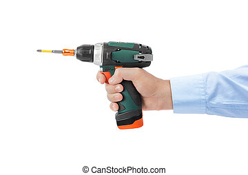 Electric drill or screwdriver in hand