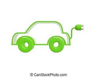 electric drive car - green electric drive car isolated on...